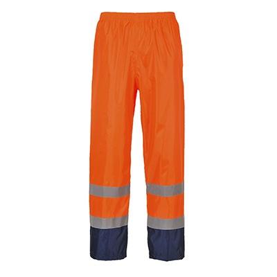 Redrok Workwear Centre Hi-Vis Contrast Rain Trouser - Orange/Navy