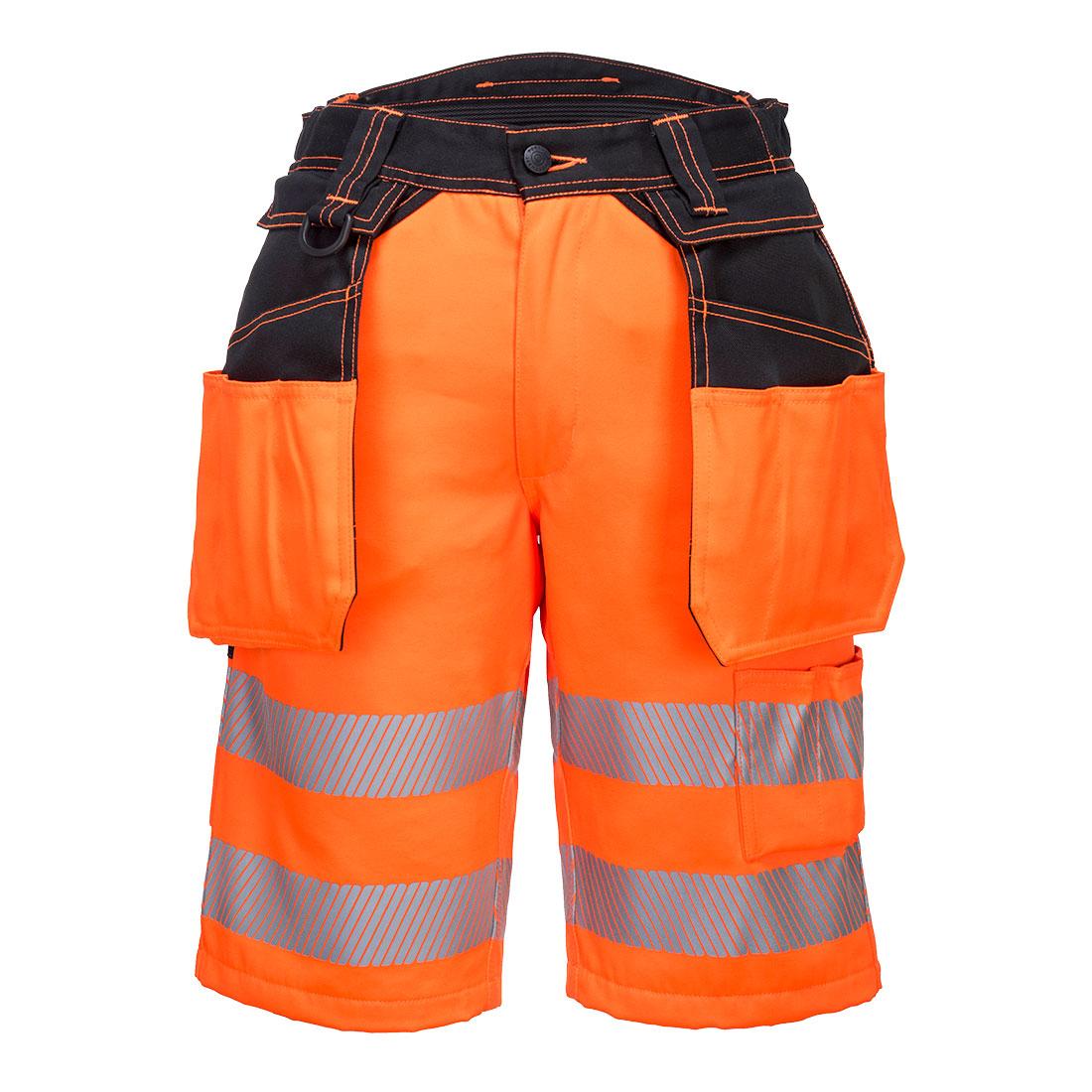 Portwest Hi-Vis Holster Shorts - Orange / Black Front