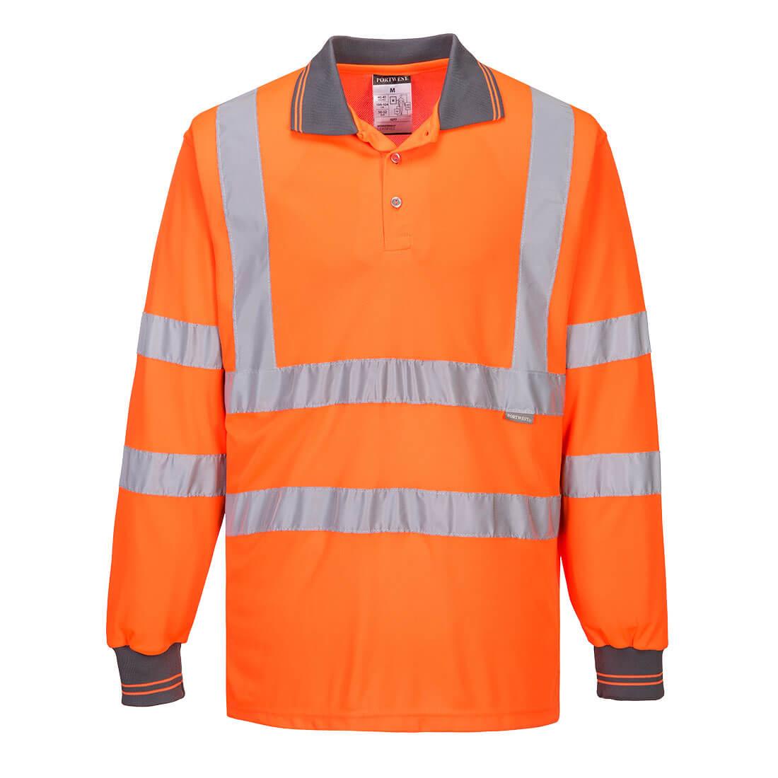 Hi Vis Long Sleeve Polo shirt Long Sleeve S277 orange